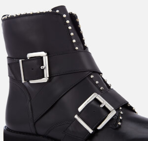 Steve Madden Women's Hoofy Leather Biker Boots - Black: Image 4