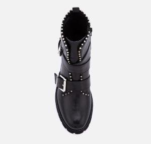 Steve Madden Women's Hoofy Leather Biker Boots - Black: Image 3