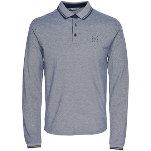 Only & Sons Men's Stan Long Sleeve Polo Shirt - Dress Blue
