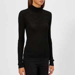 T by Alexander Wang Women's Sheer Wooly Rib Long Sleeve Fitted Turtleneck Jumper - Black