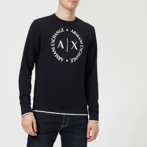 Armani Exchange Men's Round Logo Sweatshirt - Navy