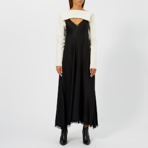 MM6 Maison Margiela Women's Fluid Satin Dress with Shirt Detail - Black