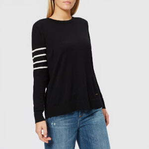 Armani Exchange Women's Pullover Jumper with Stripes on Sleeve - Black/Stripe Martini