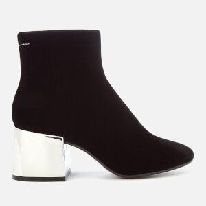 MM6 Maison Margiela Women's Metal Block Heel Velvet Ankle Boots - Black