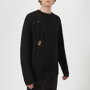 Helmut Lang Men's Distressed Drop Needle Crew Neck Jumper - Black