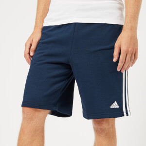 adidas Men's Essential 3 Stripe Fleece Shorts - Collegiate Navy