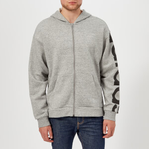adidas Men's Sleeve Logo Full Zip Hoody - Medium Grey Heather