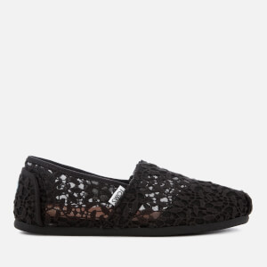 TOMS Women's Alpargata Canvas Slip-On Pumps - Black Lace Leaves