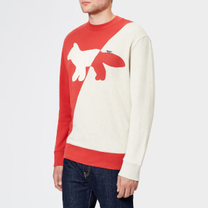 Maison Kitsuné Men's Diagonal Fox Sweatshirt - Ecru/Red
