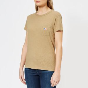 Maison Kitsuné Women's Tricolour Fox Patch T-Shirt - Beige Melange