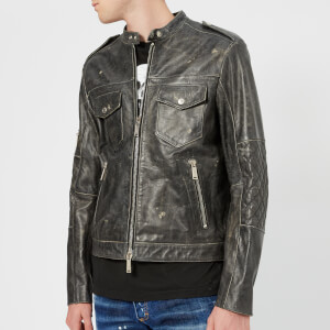 Dsquared2 Men's Calf Leather Jacket - Dark Grey