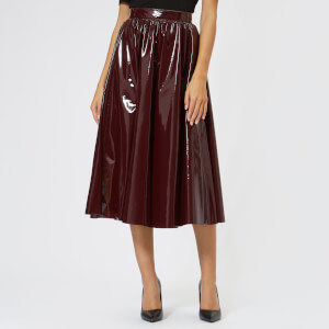 MSGM Women's PVC Midi Skirt - Burgundy