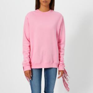 MSGM Women's Oversized Fringe Sleeve Sweatshirt - Pink