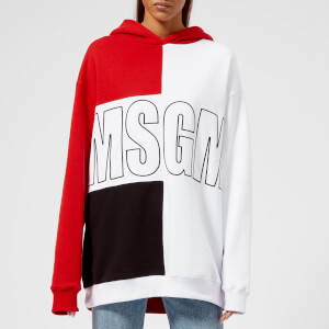 MSGM Women's Contrast Logo Hooded Sweatshirt - Multi