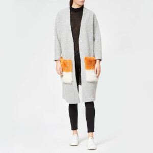 Anne Vest Women's May Asymmetric Cardigan - Grey with Orange and White Pockets