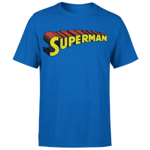 DC Superman Telescopic Crackle Logo Men's T-Shirt - Royal Blue