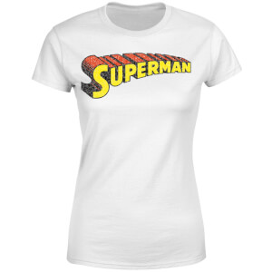 DC Superman Telescopic Crackle Logo Women's T-Shirt - White