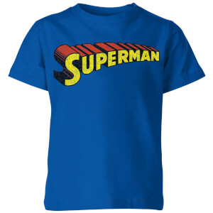 DC Superman Telescopic Crackle Logo Kids' T-Shirt - Royal Blue
