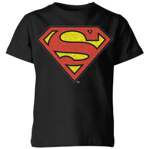 T-Shirt Enfant Logo Superman Craquelé DC Originals - Noir