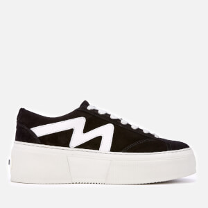 MSGM Women's Lace-Up Cupsole Trainers - Black/White