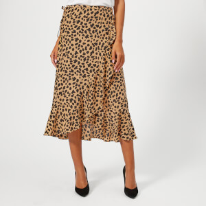 RIXO London Women's Gracie Midi Skirt - Spot Leopard