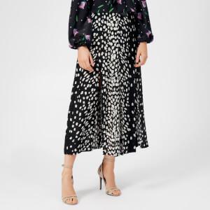 RIXO Women's Georgia Pleated Midi Skirt - Black Leopard