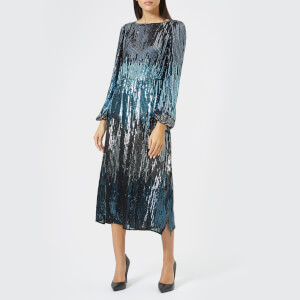 RIXO Women's Coco Slash Neck Midi Dress - Multi Sequin