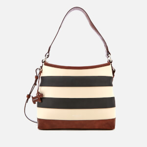 Radley Women's Babington Stripe Medium Zip-Top Shoulder Bag - Black/Oyster