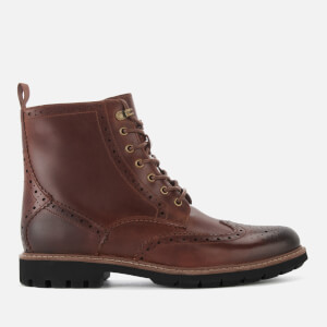 Clarks Men's Batcombe Lord Leather Brogue Lace Up Boots - Dark Tan
