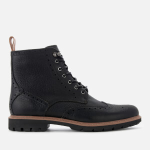 Clarks Men's Batcombe Lord Leather Brogue Lace Up Boots - Black: Image 1