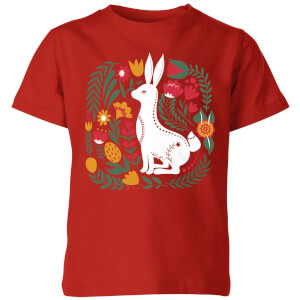 My Little Rascal Scandi Rabbit Pattern Kids' T-Shirt - Red