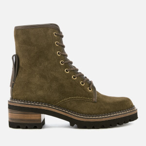 See By Chloé Women's Crosta Heeled Lace Up Boots - Loden
