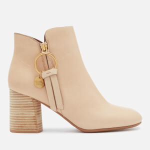 See By Chloé Women's Ring Zip Detail Heeled Ankle Boots - Beige