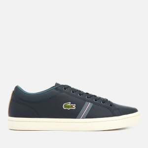 Lacoste Men's Straightset Sport 318 1 Leather Trainers - Navy/Natural