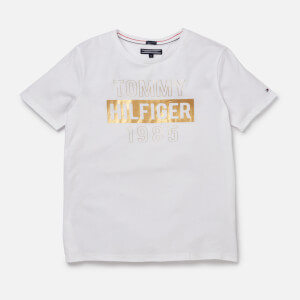 Tommy Hilfiger Girl's Essential Foil Print T-Shirt - White