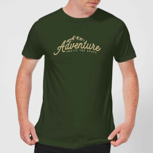 Adventure Awaits The Brave Men's T-Shirt - Forest Green