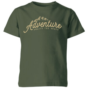 Adventure Awaits The Brave Kids' T-Shirt - Forest Green