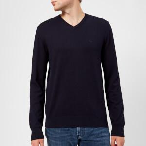 Emporio Armani Men's V Neck Knitted Jumper - Blue