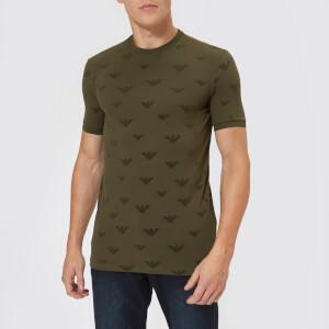 Emporio Armani Men's All Over Flock T-Shirt - Verde Militare