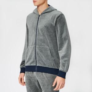 Emporio Armani Men's Zipped Logo Hoodie - Grey