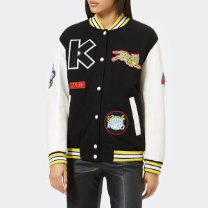 KENZO Women's Embroidered Wool And Leather Bomber Jacket - Multi