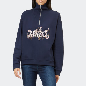 5e2d184979b4f KENZO Women's Light Cotton Molleton Zip Top - Navy