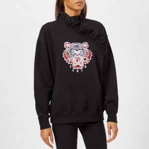 KENZO Women's Small Tiger with Ruffles Molleton Sweatshirt - Black
