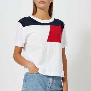 Tommy Hilfiger Women's Athleisure Elfa Colour Block Crop T-Shirt - White