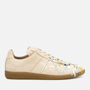 Maison Margiela Men's Replica Nubuck/Suede/Painter Low Top Trainers - Beige/Paint