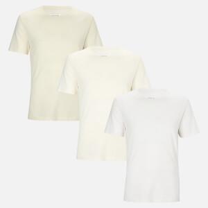 Maison Margiela Men's 3 Pack T-Shirts - Optic White/Off White/Cream