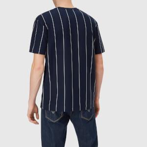 Lacoste Men's Vertical Stripe/Patch Logo T-Shirt - Navy/White: Image 2