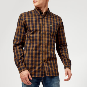 Lacoste Men's Tartan Button Down Shirt - Renaissance Brown/Meridian Blue