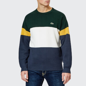Lacoste Men's Colour Block Knitted Jumper - Meridian Blue/Flour/Sinople
