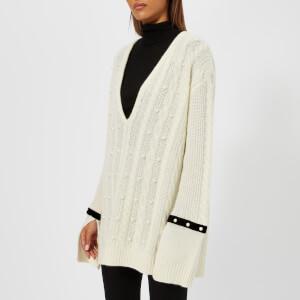 Philosophy di Lorenzo Serafini Women's Deep V Knit With Velvet Trim - Ivory